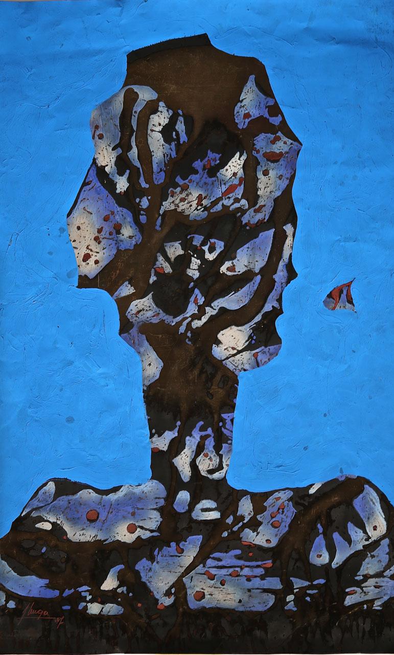 1997 - ARTHUR UNGER, KINDUNDA, 1997, 78,5 X 48 CM., PYROCHIMIOGR